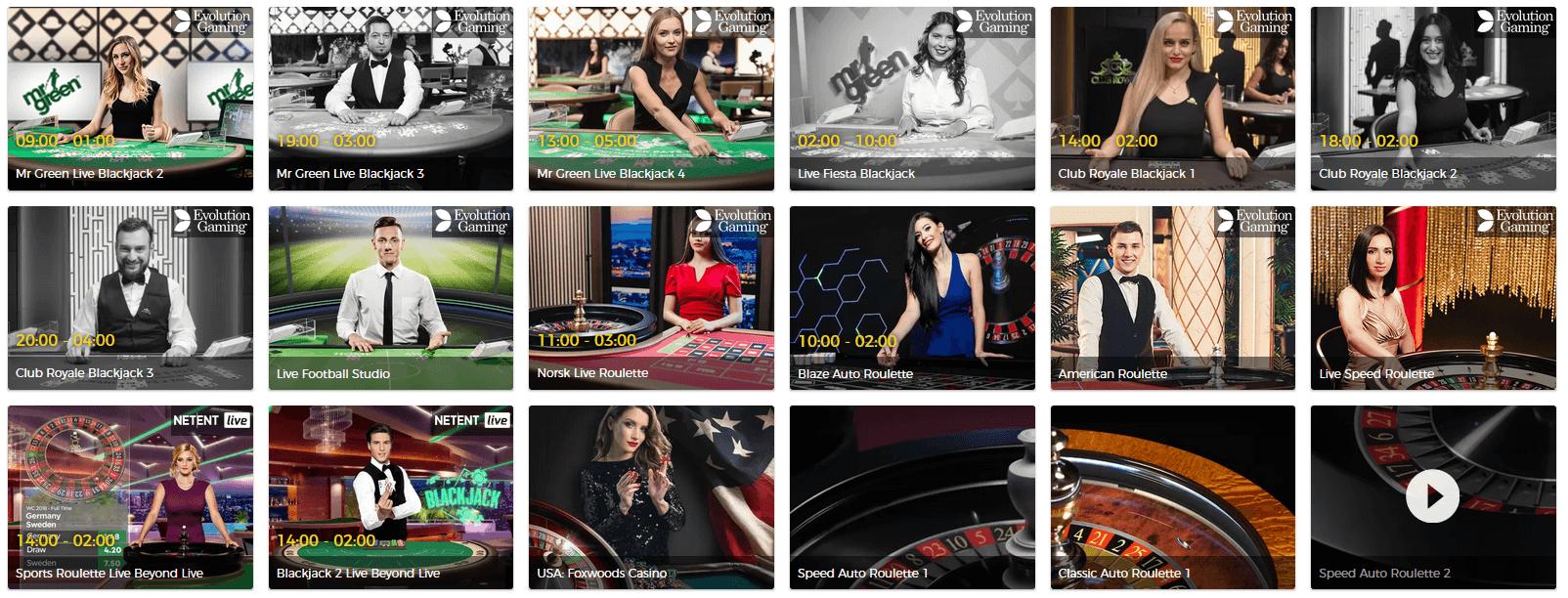 Live Casino hos Mr Green