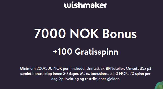 Wishmaker velkomstbonus