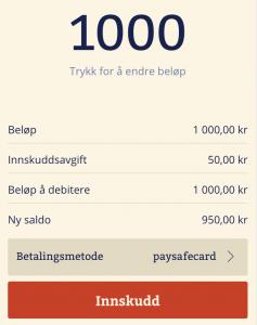 Innskudd med PaysafeCard