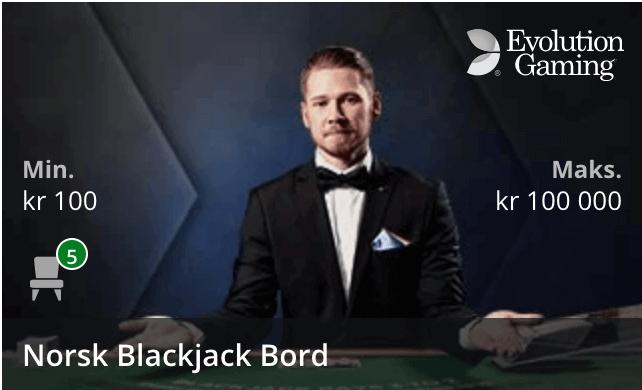 Norsk Blackjack fra Evolution Gaming